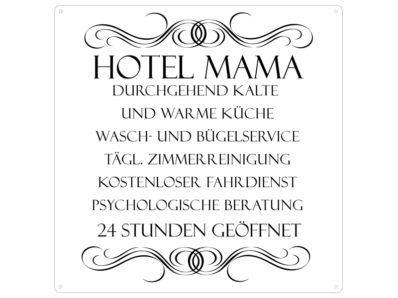 20x20 cm vintage blechschild t rschild hotel mama geschenk. Black Bedroom Furniture Sets. Home Design Ideas