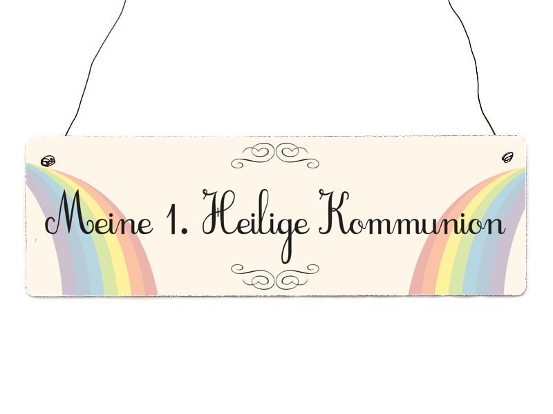 Interluxe holzschild meine 1 heilige kommunion for Regenbogen dekoration