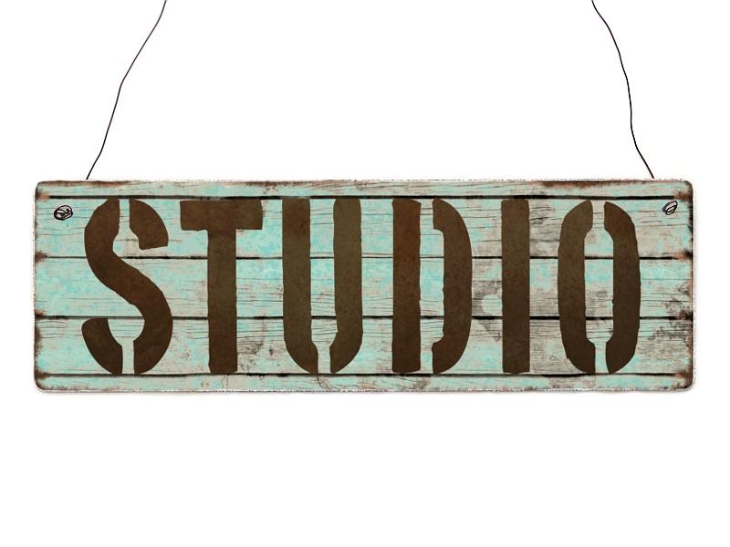Interluxe holzschild studio geschenk deko shabby vintage for Deko wohnung modern