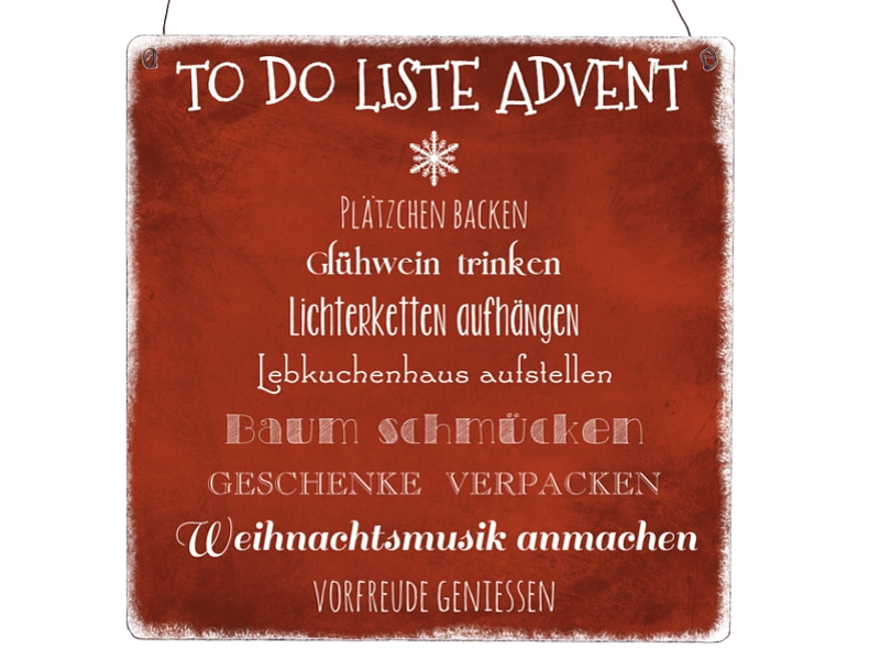 XL Shabby Vintage Dekoschild TO-DO LISTE ADVENT Geschenk ...