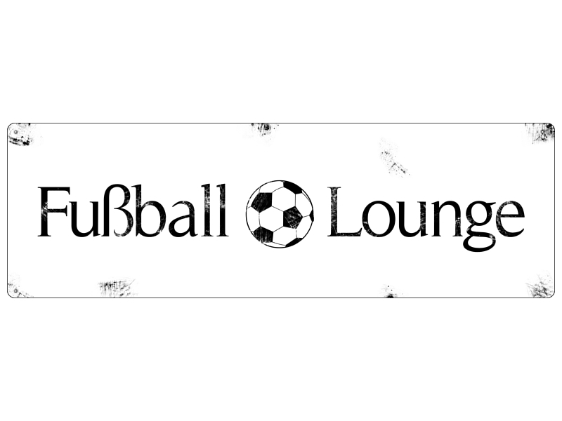 shabby vintage metallschild blechschild fussball lounge. Black Bedroom Furniture Sets. Home Design Ideas