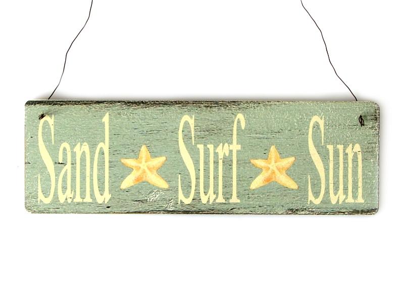 Shabby Vintage Schild T Rschild Sand Surf Sun Strand