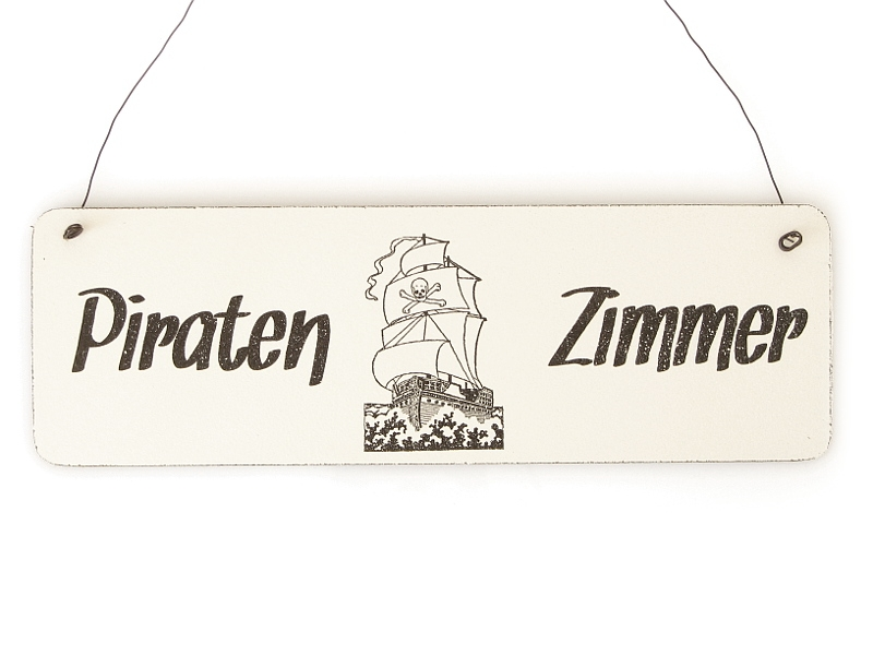 shabby vintage schild t rschild f r kinderzimmer piratenzim. Black Bedroom Furniture Sets. Home Design Ideas