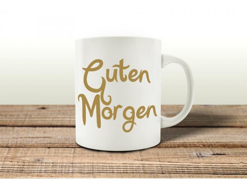 tasse kaffeebecher guten morgen gold geschenk spruch motiv arbeit b. Black Bedroom Furniture Sets. Home Design Ideas