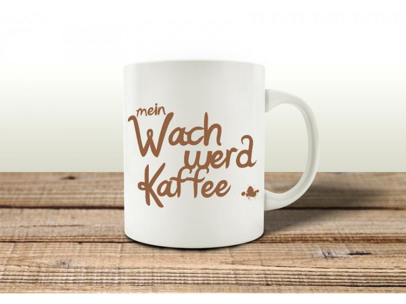 tasse kaffeebecher wach werd kaffee geschenk spruch motiv arbeit b uu. Black Bedroom Furniture Sets. Home Design Ideas