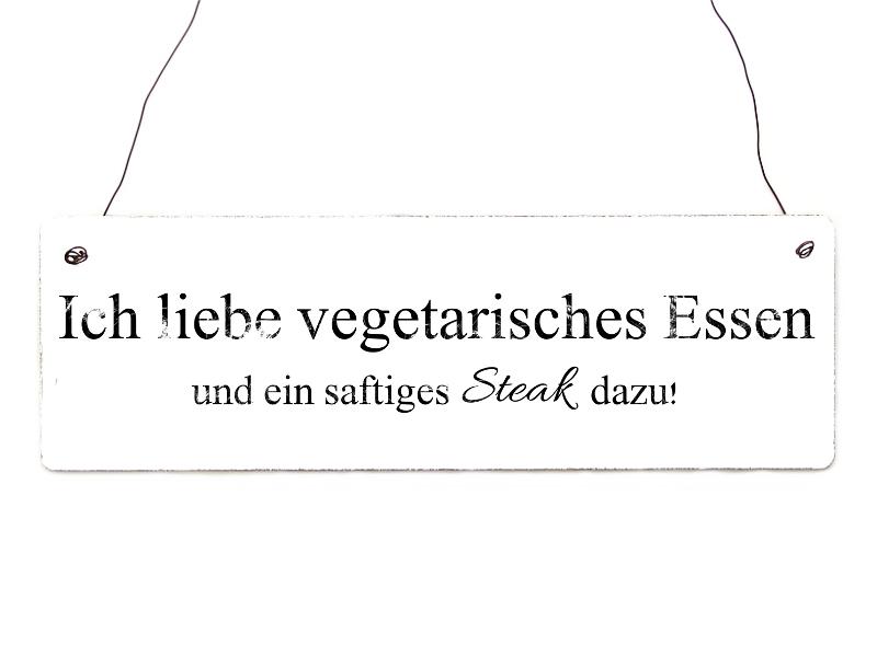 vintage shabby t rschild ich liebe vegetarisches essen geschenk. Black Bedroom Furniture Sets. Home Design Ideas