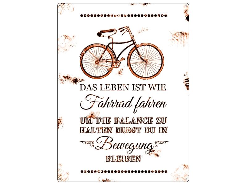 wandschild shabby vintage blechschild das leben ist wie fahrrad fahre