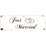 METALLSCHILD Shabby Blechschild Türschild JUST MARRIED...