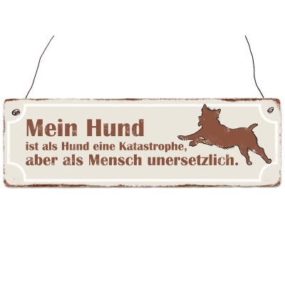holzschild shabby vintage mein hund ist als hund eine. Black Bedroom Furniture Sets. Home Design Ideas