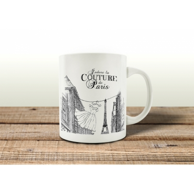 tasse kaffeebecher couture de paris spruch geschenk shabby motiv fran. Black Bedroom Furniture Sets. Home Design Ideas
