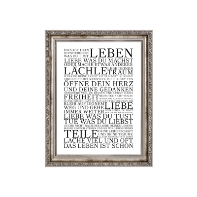 vintage druck poster dies ist dein leben motivation print typografie. Black Bedroom Furniture Sets. Home Design Ideas