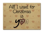 LUXECARDS POSTKARTE aus Holz ALL I WANT FOR CHRISTMAS...