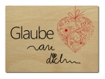 LUXECARDS POSTKARTE aus Holz GLAUBE AN DICH Motivation...