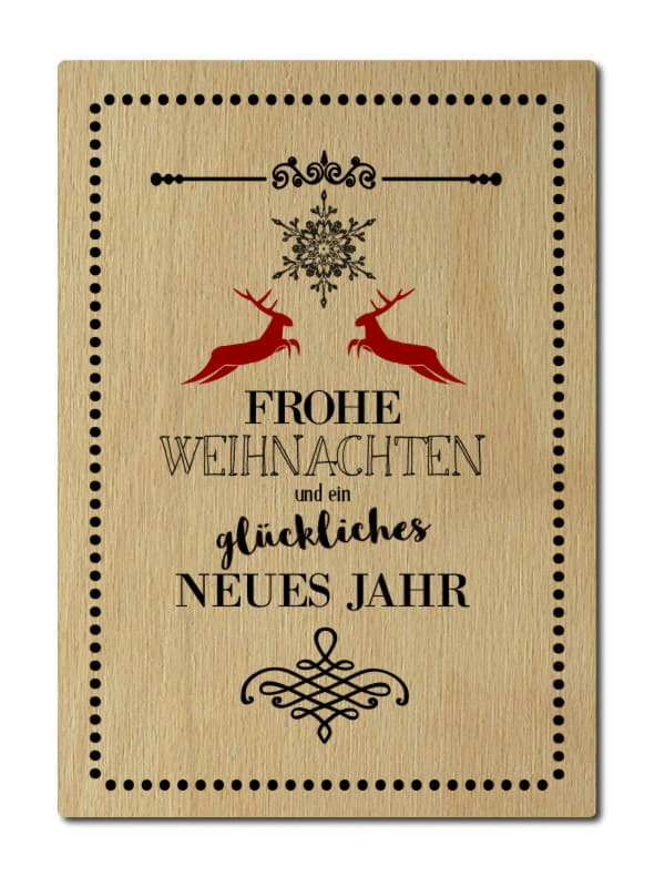 luxecards postkarte aus holz frohe weihnachten und ein. Black Bedroom Furniture Sets. Home Design Ideas