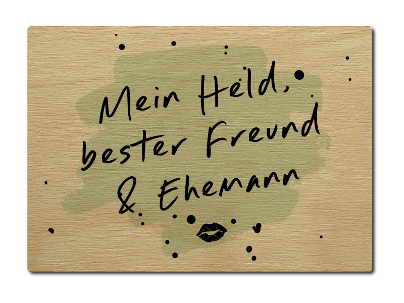 luxecards postkarte aus holz mein held bester freund. Black Bedroom Furniture Sets. Home Design Ideas