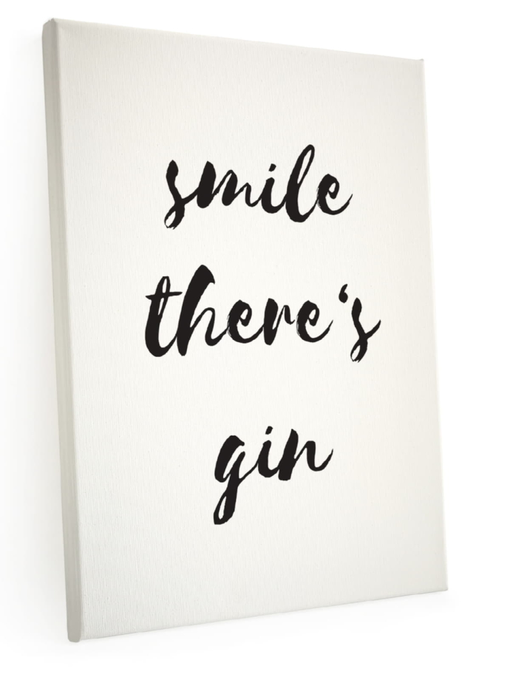 leinwand keilrahmen smile there 39 s gin spruch handlettering. Black Bedroom Furniture Sets. Home Design Ideas
