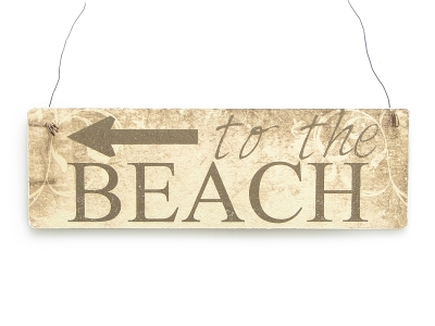 Farbiges Vintage Shabby Schild Dekoschild Türschild TO THE BEACH Strand