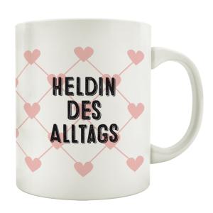 TASSE Kaffeebecher HELDIN DES TAGES Rosa Herz Geschenk...