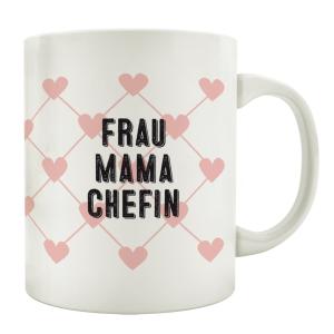 TASSE Kaffeebecher FRAU MAMA CHEFIN Rosa Herz Geschenk...