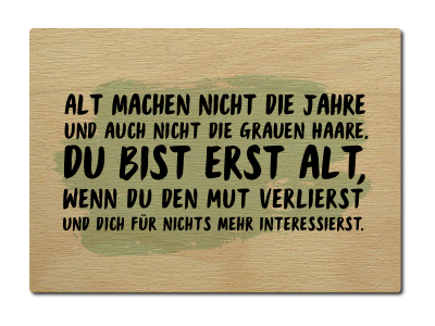 luxecards shabby postkarte aus holz alt machen nicht die jahre spruch. Black Bedroom Furniture Sets. Home Design Ideas