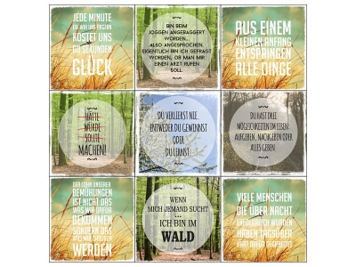 INTERLUXE 9er Magnete Set MOTIVATION NATUR Wald Freizeit Shabby Geschenk Deko
