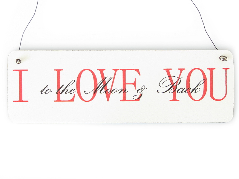 Shabby vintage schild t rschild i love you to the moon and - Vintage and chic love ...