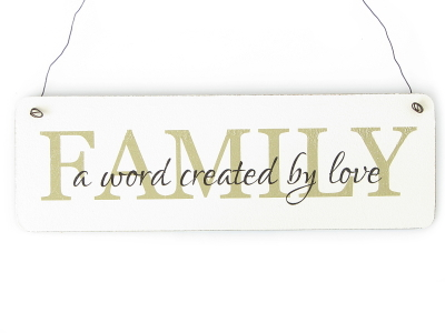 Shabby Vintage Schild Türschild FAMILY A WORD CREATED BY LOVE Impression Chic