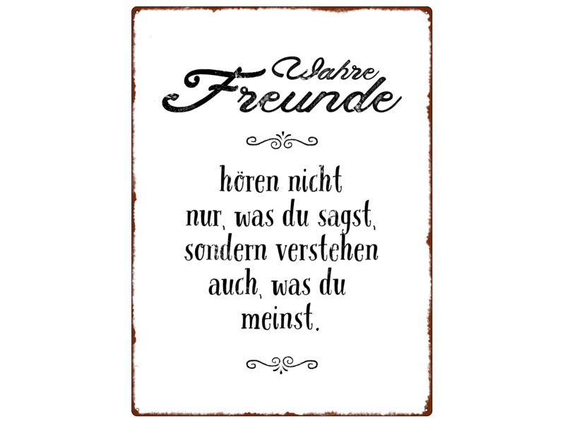 wandschild metallschild wahre freunde spruch vintage geschenk freunds. Black Bedroom Furniture Sets. Home Design Ideas