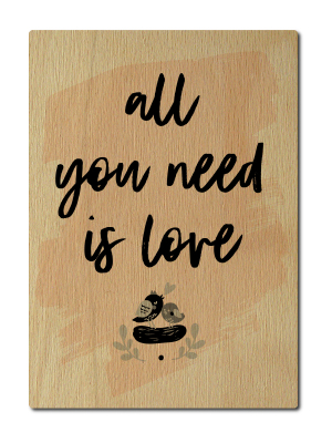 LUXECARDS POSTKARTE aus Holz ALL YOU NEED IS LOVE Valentinstag Gruß Geschenk