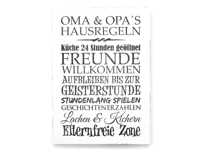 wandtafel schild oma opas hausregeln vintage shabby gro e. Black Bedroom Furniture Sets. Home Design Ideas