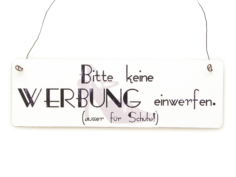 shabby vintage schild t rschild dekoschild bitte keine werbung a. Black Bedroom Furniture Sets. Home Design Ideas