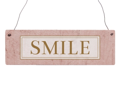 Holzschild Türschild SMILE Lächeln Lachen Motivation Eingang GOLDEN BERRY