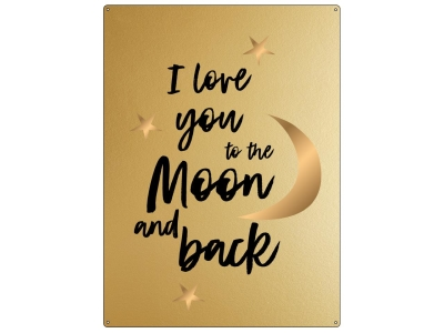 30x22cm GOLD Wandschild I LOVE YOU TO THE MOON AND BACK Mond Liebe Freund Freundin