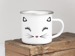 EMAILLE BECHER Retro Tasse MISS KITTY Katze Haustier...