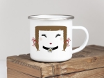 EMAILLE BECHER Retro Tasse MISS MOLLY MIT EDELWEISS...