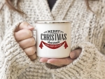 EMAILLE BECHER Retro Tasse MERRY CHRISTMAS rote Stoff...