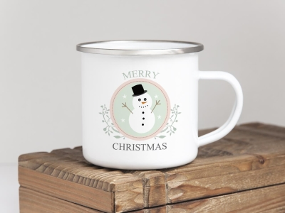 EMAILLE BECHER Retro Tasse MERRY CHRISTMAS SCHNEEMANN Weihnachten Winter Nikolaus Advent