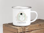 EMAILLE BECHER Retro Tasse MERRY CHRISTMAS SCHNEEMANN...