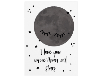 WANDTAFEL Holzschild I LOVE YOU MORE THAN ALL STARS Kinderzimmer Mond Sterne Liebe
