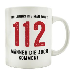 TASSE Kaffeebecher 112 JUNGS DIE MAN RUFT FEUERWEHR...
