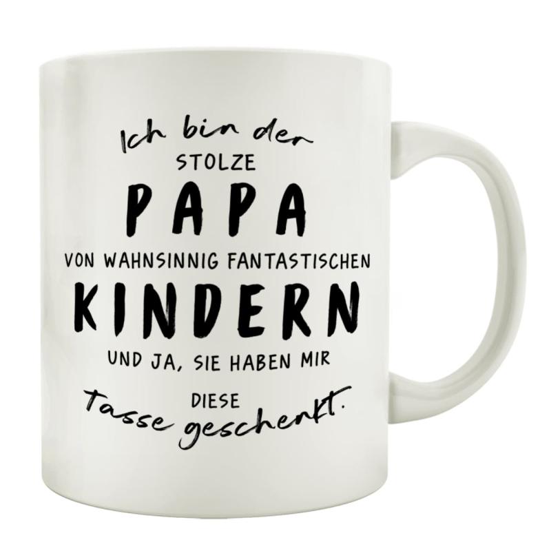 TASSE Kaffeetasse mit Spruch ICH BIN DER STOLZE PAPA VON WAHNSINNIG FANTASTISCHEN KINDERN Vater Familie
