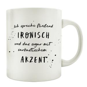 TASSE Kaffeetasse mit Spruch ICH SPRECHE FLIEßEND...