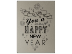 30x22cm PLATIN Wandschild WE WISH YOU A HAPPY NEW YEAR...