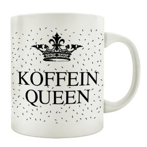 TASSE Kaffeetasse mit Spruch KOFFEIN QUEEN Krone...