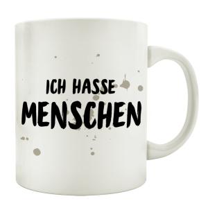 TASSE Kaffeetasse mit Spruch ICH HASSE MENSCHEN Geschenk...
