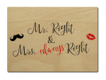 LUXECARDS POSTKARTE aus Holz MR. RIGHT & MRS. ALWAYS...