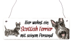 Interluxe Holzschild - Hier wohnt ein Scottish Terrier -...