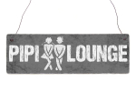 Interluxe Holzschild - Pipi Lounge GRAU MIT...