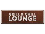 Interluxe Metallschild - Grill & Chill Lounge Rost -...