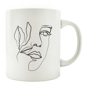TASSE Kaffeebecher - Face - Gesicht Frau Line Art...